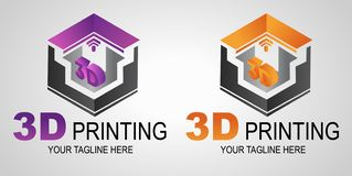 Creative 3D Print logo or sign, icon. Modern 3D printer printing. Additive manufacturing vector illustration