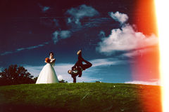 Creative dancing couple and abstract at night Stock Photos