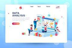 Creative Data Analysis Engine Concept. Data analysis concept with characters. Engine strategy, analyzing, infographic of workplace for developers, workspace for royalty free illustration