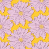 Creative decoration violet yellow nature print. Beautiful cute flower bloosom texture pattern. Fashion surface background. Spring. Fabric, textile. Vector vector illustration