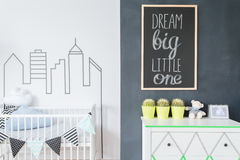 Creative decorations to make a baby room a home Stock Image