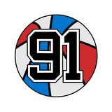 Ball of basketball with the number 91. Creative design of ball of basketball with the number 91 stock illustration