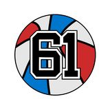 Ball of basketball symbol with number 61 Stock Image