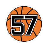 Ball of basketball symbol with number 57 Stock Photo