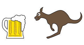 Beer and kangaroo Royalty Free Stock Photo
