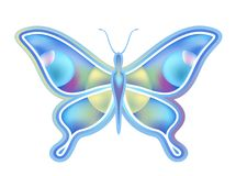 Blue flying butterfly royalty free illustration
