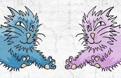 Blue and pink cats. Creative design of blue and pink cats Stock Images