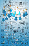 Creative design business as pencil lightbulb 3d Royalty Free Stock Images