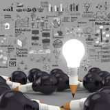 Creative design business as pencil lightbulb 3d Stock Photo