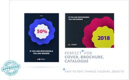 Creative design of business brochure set, abstract horizontal cover layout. Flyer in A4 with vector colourful waves for poster, motion design, broadcast Stock Images