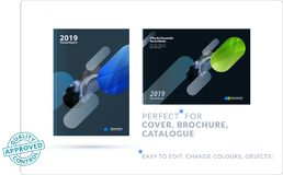 Creative design of business brochure set, abstract horizontal cover layout, flyer in A4 with colourful rounded stock illustration