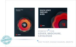 Creative design of business brochure set, abstract horizontal cover layout. Flyer in A4 with vector colourful waves for poster, motion design, broadcast stock illustration
