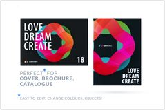 Creative design of business brochure set, abstract horizontal cover layout. Flyer in A4 with vector colourful waves for poster, motion design, broadcast Royalty Free Stock Images