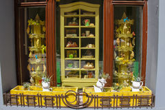 Creative design of cafe window on Katedralna Square in Lviv, Royalty Free Stock Photography