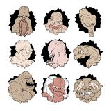 Creature faces set collection Royalty Free Stock Photo