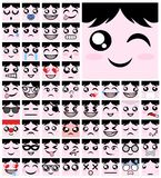 Expression faces set collection Stock Photo
