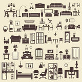 Creative design furniture icons set interior- illustration Royalty Free Stock Photography