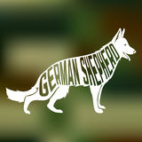 Creative design of german shepherd breed dog. Silhouette on colorful blurred background.  Vector Illustration Stock Images