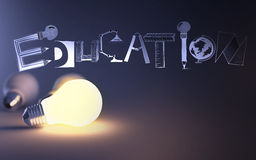 Creative design hand drawn EDUCATION  word. And light bulb 3d as concept Royalty Free Stock Images