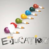 Creative design hand drawn EDUCATION  word. And light bulb 3d as concept Stock Photo