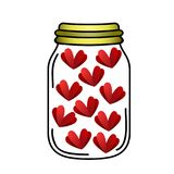 Hearts closed in bottle Royalty Free Stock Photography