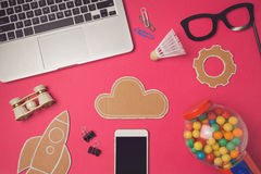 Creative design hero header image with smartphone and cardboard cloud. Modern website header background. Stock Images