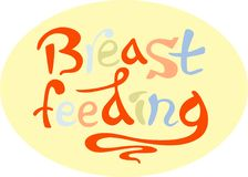 Breastfeeding, lettering vector illustration