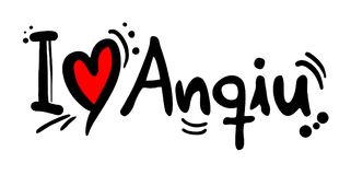 Anqiu love message. Creative design of love city message Stock Photo