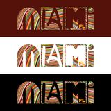 Creative design Miami typography with colorful strips Royalty Free Stock Photography