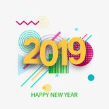 Creative design of the New Year.`s card in 2018 on a modern background. stock illustration