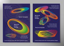 Creative design poster with vibrant gradients shapes. Minimal brigth backgrounds for flyer, cover, brochure. Vector template.  Stock Images