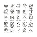 Creative design process linear vector icons for web app Royalty Free Stock Photos