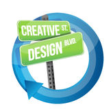 Creative design road sign cycle illustration Royalty Free Stock Images