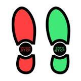 Safe and danger footstep symbols. Creative design of safe and danger footstep symbols Stock Photos