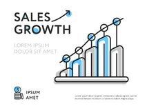 Creative design for sales representation. Simple design showing growing arrow of sales with space for text on white background Royalty Free Stock Photography