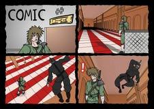Samurai and ninja comic page Stock Photography