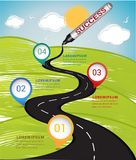 Creative design template with marker colored  drawing a road to success. Stock Photos