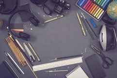 Creative design top view hero header image. Workplace of an artist Royalty Free Stock Photos