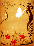 Creative design, vintage style. Creative design with floral frame, butterflies and circles Stock Photos