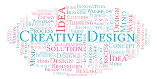 Creative Design word cloud, made with text only. stock illustration