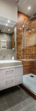 Creative designed bathroom. Creatively designed modern and stylish bathroom, vertical panorama royalty free stock images