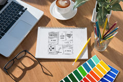Creative Designer Graphic designer at work. Color swatch sample Royalty Free Stock Photography