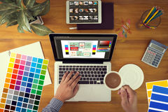 Creative Designer Graphic at work. Color swatch samples, Illustr Royalty Free Stock Photos