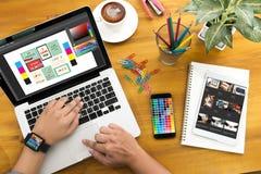 Creative Designer Graphic at work. Color swatch samples, Illustr Stock Image