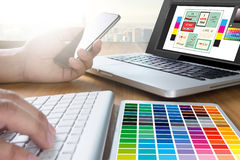 Creative Designer Graphic at work. Color swatch samples, Illustrator Graphic designer working digital tablet and computer stock photos
