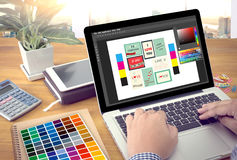 Creative Designer Graphic at work. Color swatch samples, Illustrator Graphic designer working digital tablet and computer royalty free stock image
