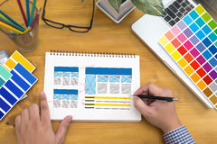 Creative Designer Graphic at work. Color swatch samples, Illustr Stock Images