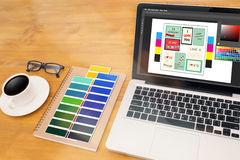 Creative Designer Graphic at work. Color swatch samples, Illustr Royalty Free Stock Photo