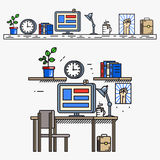Creative designer workspace in thin line flat Royalty Free Stock Image