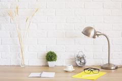 Creative desk with various items stock image